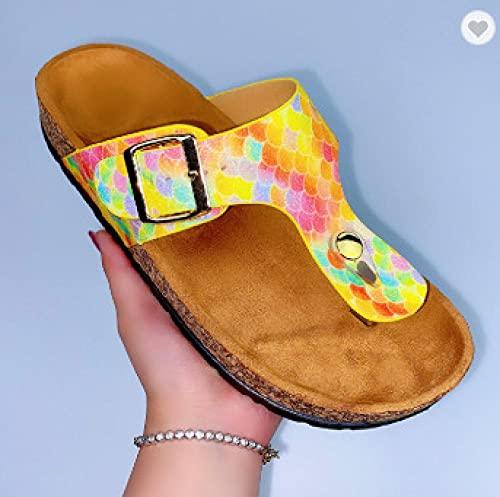 COQUI Sandalia Mujer,Zapatillas de Moda para Mujer Color Escalas de Corcho Torres de Corcho de Verano Zapatos de Mujer Zapatillas-Amarillo_38