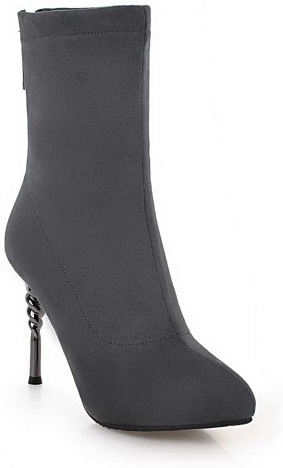 AN Womens Spikes Stilettos Pointed-Toe Imitated Suede Boots DKU02417