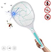 Bug Zapper Racket, Electric Fly Swatter, Fly Swatter/Killer and Bug Zapper Racket - 2800 Volt USB Charging, Super-Bright LED Light to Zap in the Dark, Unique 3-Layer Safety Mesh Safe (Light Blue)
