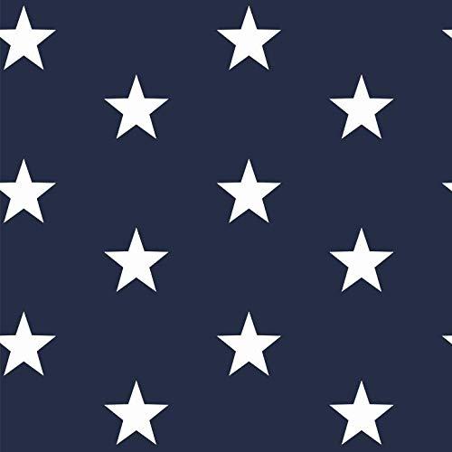 babrause® Baumwollstoff Sterne Navy Blau Webware Meterware Popeline OEKOTEX 150cm breit - Ab 0,5 Meter