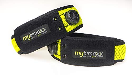mybimaxx Bandagen für gesunden und schnellen Muskelaufbau | Blood Flow Restriction (BFR) | Okklusionstraining | Flossing (35 - 40, Lime)