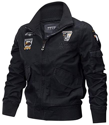 Betrothales Hombres Otoño Abrigos Multi Cazadoras Hombres Chaquetas Classic Algodón Pocket Moda Hombres Piloto Chaqueta Bomber Jacket Sweat Jacket Sport Jacket (Color : Schwarz 5, Size : L)