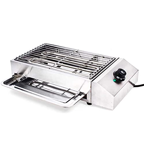 Parrilla Interior sin Humo 2800 W Parrilla eléctrica para Barbacoa termostato Ajustable Ideal para cocinar Carnes mariscos filetes panqueques quesos