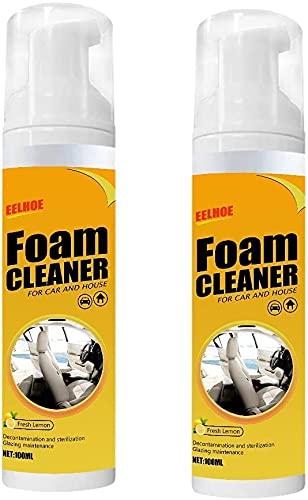 Limpiador de Espuma Multiusos de 100 ML, Limpiador De Espuma para El Coche y La Casa con Sabor a Limón, Botella De Spray De Limpieza,for Car Interiors Leather Seats (2pcs)