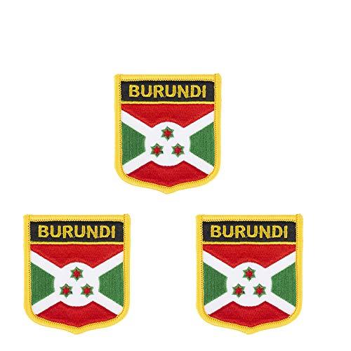 Aufnäher mit Bur&i-Flagge, bestickt, Schild-Form, zum Aufbügeln oder Aufnähen, 3 Stück