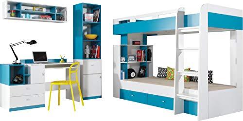 FurnitureByJDM - Stapelbed met bureau en boekenkast - MOBI Systeem 19 (set) - (wit / turkoois)