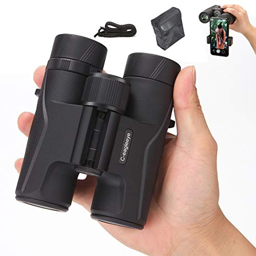 12x32 Compact Binoculars for Adults Bird Watching Hunting- 20mm Big Eyepiece &BAK4 FMC Lens & (1.1 lbs) Lightweight Waterproof Binoculars Low Light Night Vision Binoculars with Phone Adapter and Bag