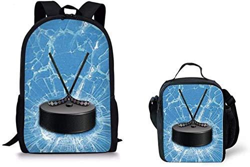 Kinder-Rucksack Student Bookbags und Lunchboxest Sport Eishockey Drucken Schulrucksack for Kinder (Color : Hockey Puck)