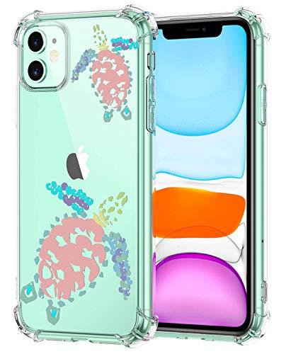 Oihxse Funda Compatible con iPhone 12 6.1'' 2020 Ultra Delgada Ligera Transparente Silicona TPU Gel Suave Carcasa Elegante Patrón Anti-Rasguño Protector Caso-Tortuga A4