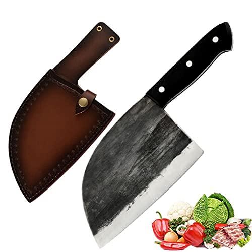 Promithi Handgemacht Japanisches Kochmesser Serbisch Metzgermesser Ausbeinmesser Santokumesser Fleischmesser Schälmesser Allzweckmesser Küchenmesser Hackmesser für Hackbeil-Zerhacker, Mit Lederscheide