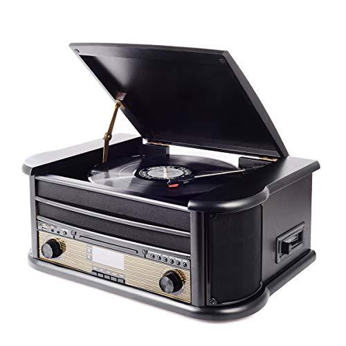 Plattenspieler mit eingebauten Lautsprechern, Retro Bluetooth Turntable 3-Gang 33/45/78 (U/min), Nostalgie Holz Musikanlage