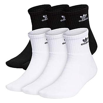 adidas Originals Men s Trefoil Quarter Socks  6-Pair  White/ Black Black/ White Large