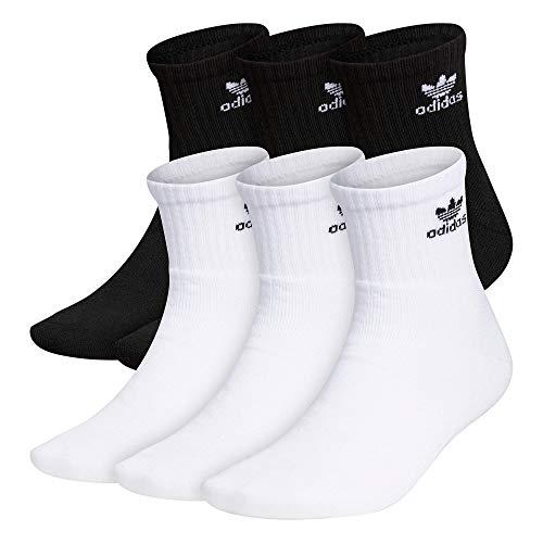 adidas Originals Men's Trefoil Quarter Socks (6-Pair), White/ Black Black/ White, Large
