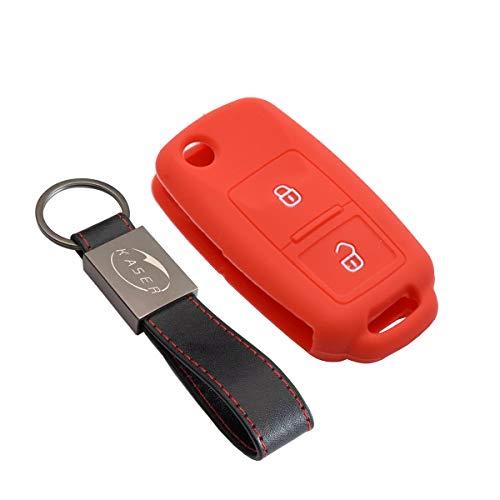 Funda Silicona para Llave VW Volkswagen – Carcasa Llaveros para Coche VW Volkswagen Seat Skoda Golf Polo Passat Scirocco Tiguan Ibiza Octavia Cover Case Protección Mando Distancia Auto (Rojo)