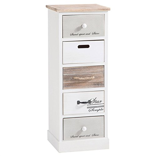CARO-Möbel Schubladenregal Salva Kommode Standregal Aufbewahrungsregal in weiß, Shabby Chic Vintage Look, 5 Schubladen