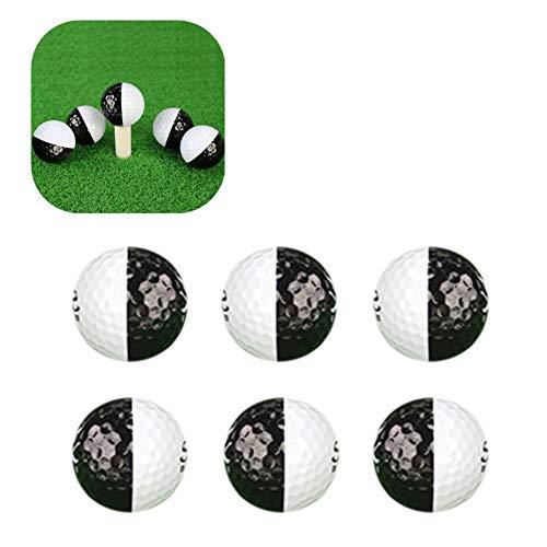 VENTDOUCE Golfbälle üben Golfbälle Set Schwarz-Weiß 2-lagiger Ball Golf Trainingszubehör Langstrecken für Putter (6 Stück/Set)