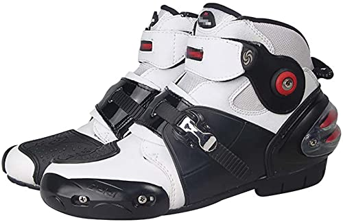 FGDFGDG Botas de Motocicleta para Hombres, Botas de Carretera blindadas Protectoras de Cuero de Carreras Impermeables, Zapatos Antideslizantes de protección de Tobillo Corto Botas de Moto,Blanco,41
