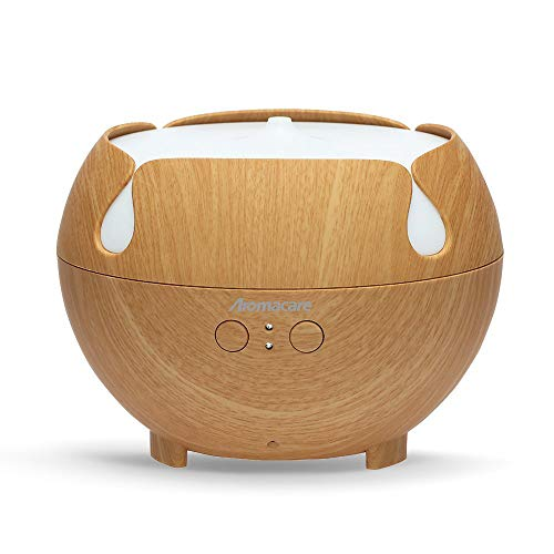 Aromacare Large Essential Oil Diffuser 600ML, Aromatherapy Cool Mist Humidifier,Quiet Aroma Diffuser, Light Wood Grain, Last Overnight for Home & Spa