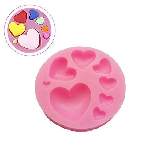 Moule à cake, Xshuai® Amour Moule à Cake en Silicone Cœur Moule à chocolat Sucre Moule à Cake Fondant Moule Outil de cuisson, rose, Size: 7.5x1.3cm