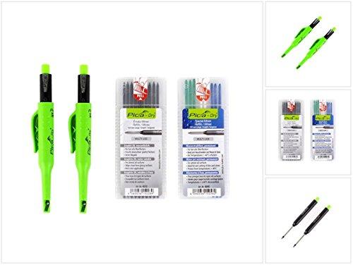 Pica 3095 Marker/Tiefenlochmarker Vorteilsbox   2X Stift Dry 3030, Ersatzminen wasserlöslich, 1x Spezialminen wasserstrahlfest (Blau, Weiß, Grün)   in praktischer Polsterbox