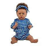 H.aetn Muñecas Reborn de Vinilo de Silicona de 23 Pulgadas / 58 cm con Cabello castaño Corto Muñeca Negra Realista para niños pequeños (Cuerpo de Silicona)