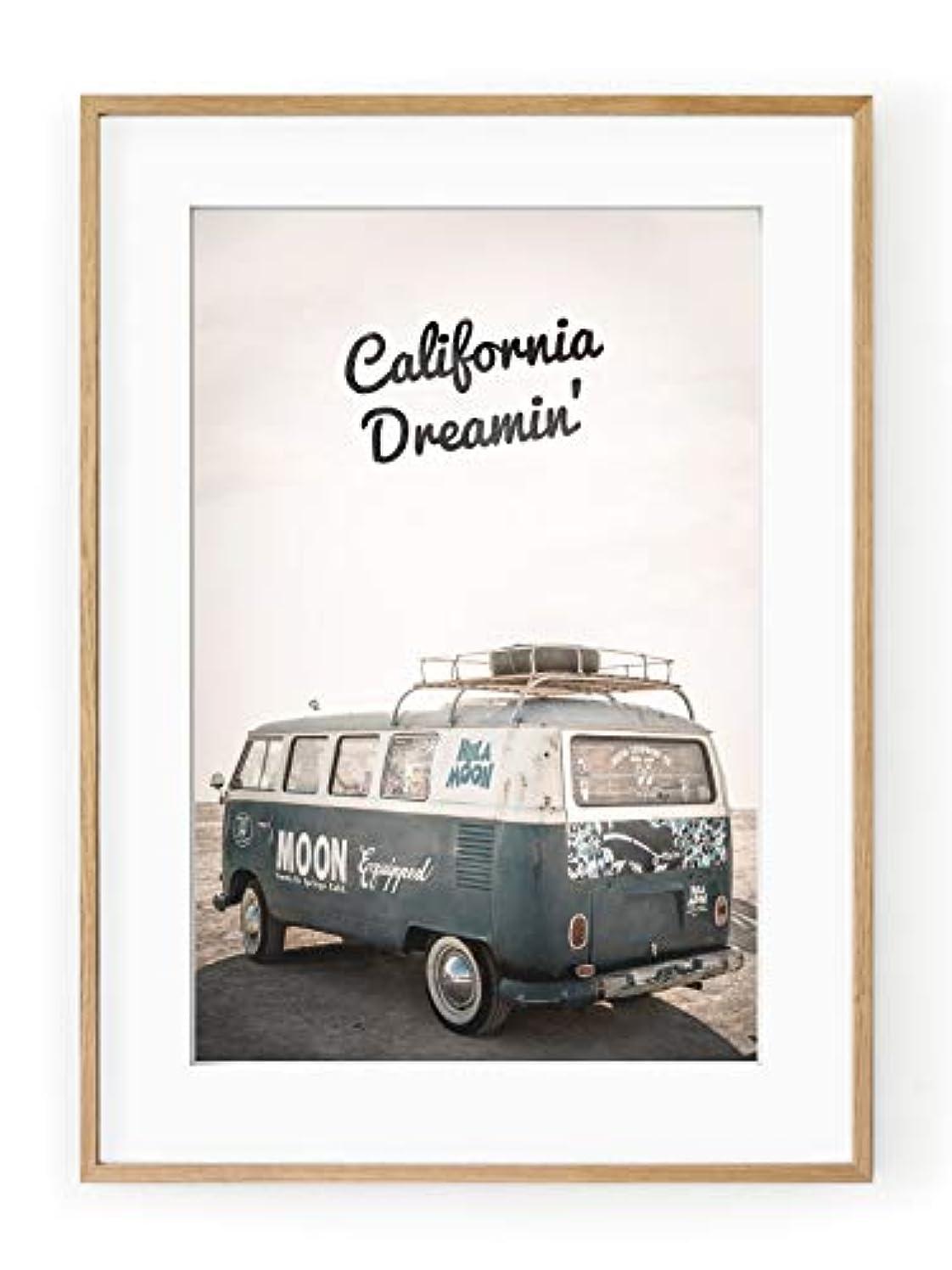 California Dreamin Satin Black Aluminium Frame with Mount, Multicolored, 30x40