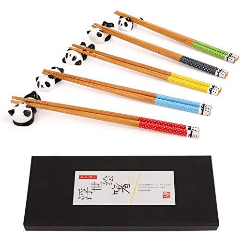 Veraing 5 Paare Essstäbchen und Essstäbchen Rest Set, Natürliche Holz Wiederverwendbare Panda Waschbar Chopsticks
