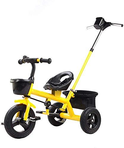 WLD kinderen 'S trainingsvoertuig kinder' S driewieler kinderen fiets multifunctioneel kinderwagen kinderen driewieler veiligheidsgordel met bekerhouder verhoog opbergmand geel