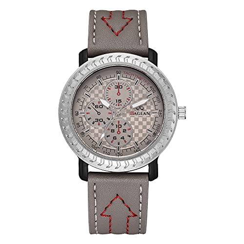 Reloj de cuarzo - Hombres Casual Sport Quartz Analógico PU Cuero Correa Reloj de negocios (gris)