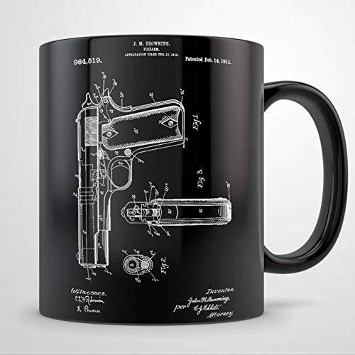 Taza de pistola presente, arma de fuego, arma de fuego, regalo para mujeres y hombres, taza de café de cerámica de 11 onzas