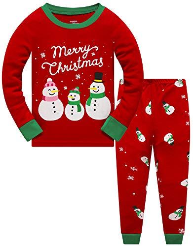 Pijama de dos piezas para niños y niñas, diseño de dinosaurios, cohete de manga larga de invierno para Navidad, pijama de bebé niña 98 104 110 116 122 128 134 7 muñeco de nieve 116 cm/5 Años