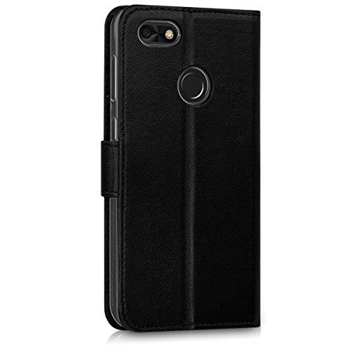 kwmobile Huawei Y6 Pro (2017) / Enjoy 7 Hülle - Kunstleder Wallet Case für Huawei Y6 Pro (2017) / Enjoy 7 mit Kartenfächern und Stand - Schwarz - 3