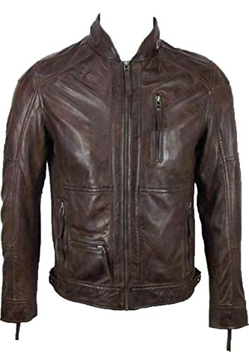UNICORN Hommes court luxe en cuir Veste Brun toucher doux en cuir #DQ Taille 34