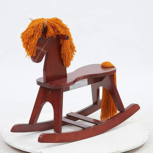 SXNYLY Wooden Rocking Horse, Baby Wood Ride On Toys for 1-3 Year Old, White Rocker Toy for Kid, Toddler Ride Animal Indoor/Outdoor, Infant Ride Toy, Christmas/Birthday Gift (Color : F)