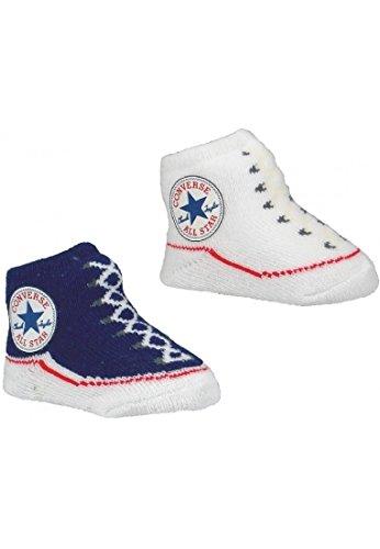 Converse Baby Söckchen Baby Schuhe 008 Navy 1 x Blau und 1 x Weiß 2er Pack, OneSize:OneSize