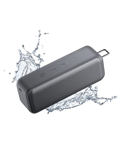 AUKEY Bluetooth Lautsprecher, Kabelloser Lautsprecher mit TWS Stereosound, 28h Akku, IP67 Wasserdicht und Staubfest für zu Hause, Outdoor und Reisen (Grau)