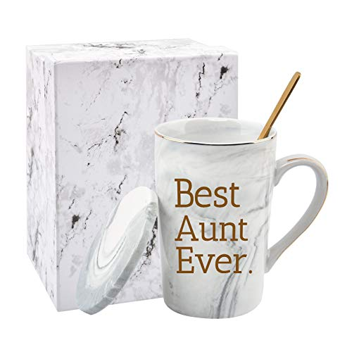 Best Aunt Ever Mug Aunt Gifts from Niece and Nephew Mothers Day Gifts for Aunt Funny Birthday Gifts for Aunt from Niece Aunt Marble Coffee Cup 14 Oz Gray with Gift Box
