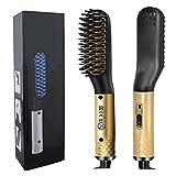 Cepillo para alisar el cabello, Cepillo para alisar el cabello eléctrico multifuncional, Alisar la barba, Peine alisador 180 ° C-200 ° C Temperaturas ajustables