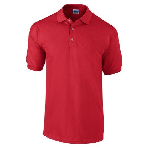 Gildan - Polo de manga corta para hombre/Caballero Modelo Pique - 100% algodón calidad de primera (Mediana (M)/Rojo)
