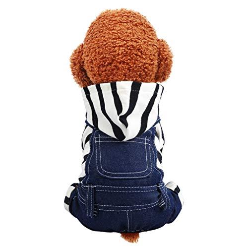 BBring Gestreift Kapuzen Hundepullover Latzhose für Katzen Hunde, Haustier T-Shirt Outwear Winterpullover Nette Katze Hunde Haustier Kleidung für...