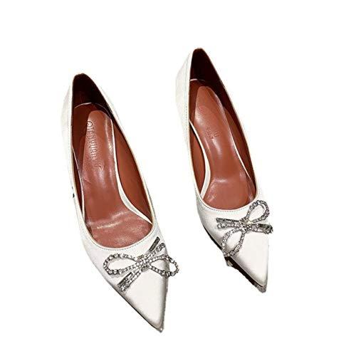 Bombas de Punta Estrecha para Mujer Zapatos de Corte Sexy Zapatos de tacón Medio Primavera Otoño Vestido de Noche Tacones Altos Poco Profundos