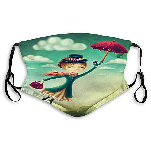 Gesichtsdekorationen Mas_ke, Cartoon Fairy Tale Nanny mit magischem Regenschirm und Tasche fliegen über London Skyline