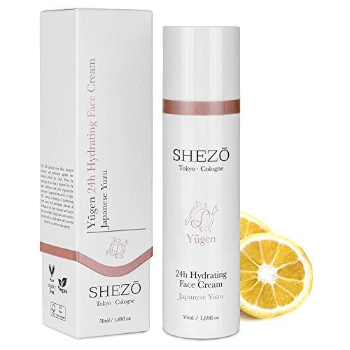 SHEZO 24h Hyaluron Feuchtigkeitscreme 50ml - Reichhaltige Anti Aging Gesichtscreme - Japanische Superfrucht Yuzu - Natürliche Vitamin-C Tagespflege Hautpflege - Dermatest-Siegel - Made in Germany