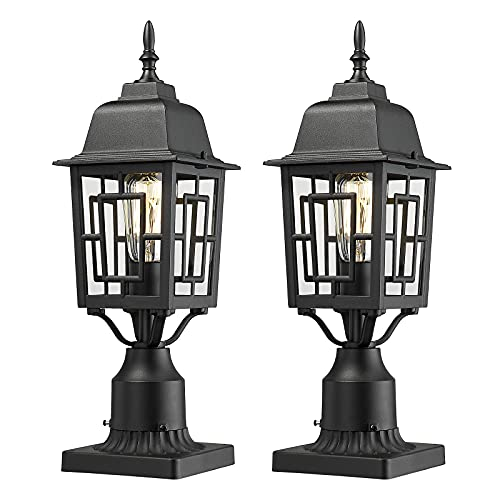 Beionxii Outdoor Post Lights, Set of 2 Exterior Post Lamp with Pier Mount Adapter, Cast Aluminum Housing with Tempered Glass, Textured Black Finish - DM7031P-TBK