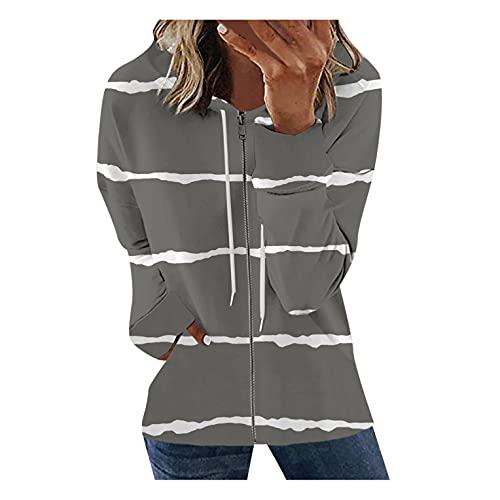 LCLrute - Sudadera para mujer, de manga larga, con capucha, diseño de rayas, estilo informal, cuello con capucha, talla grande para otoño, cremallera completa, parte superior de moda, 01#gris, L
