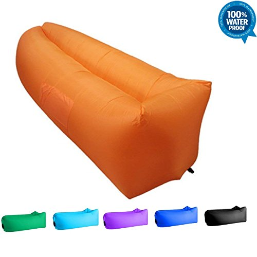Evomax Inflatable Lounger Air Sofa Couch Chair Outdoor Lazy Sofa Air Lounger Inflatable Lazy Bag Air Hammock Portable-Couch for Beach Traveling Camping Park Picnics & Music Festivals Orang