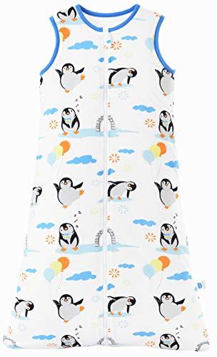 Chilsuessy Schlafsack Baby 2.5 Tog Winterschlafsack Babyschlafsack aus reine Baumwolle Winter Schlafanzug ohne Ärmel 70-130cm für Neugeborene und Kinder, Pinguin, 110cm/Baby Höhe 100-120cm