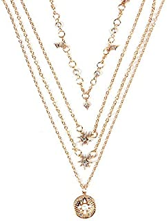 Dgxd Mg di n6797 European and American all-around necklace, retro simple star moon pearl multi-layer Necklace(Golden)