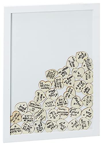 BigDean Gästebuch für Hochzeiten mit Holzrahmen - Hochzeitsgästebuch mit 72 Holz-Herzen zum Beschriften - Originelle Alternative zur Hochzeit - Bilderrahmen