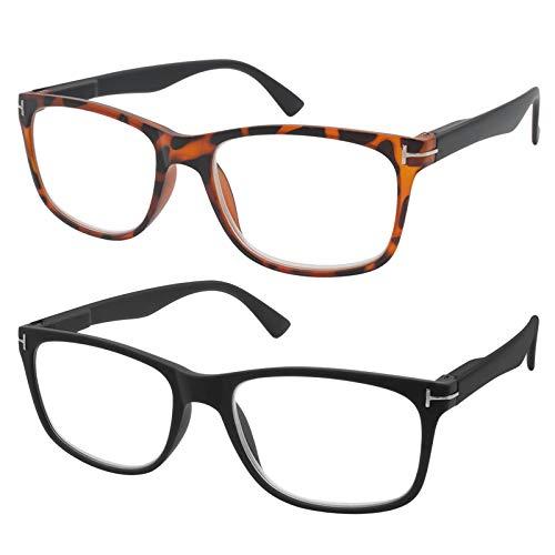 TBOC Gafas de Lectura Presbicia Vista Cansada - [Pack 2 Unidades] Graduadas +1.50 Dioptrías Montura de Pasta Carey + Negra de Diseño Moda Hombre Mujer Unisex Lentes de Aumento Leer Ver de Cerca